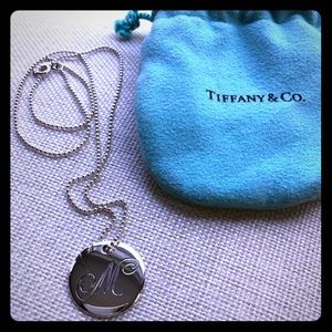 "Tiffany and Co. ""M"" Disc Initial Necklace"